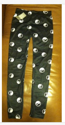 Just One Black Ying Yang Sign Leggings L Large Cute Fall Fashion Printed Pants | eBay