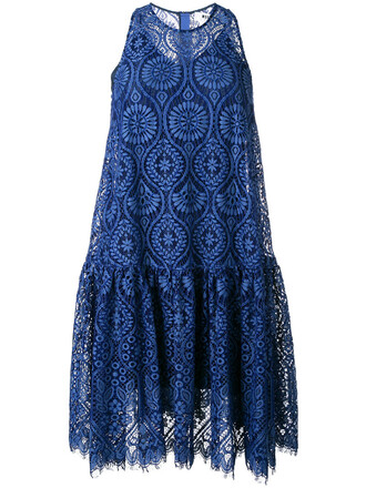 dress sheer women blue