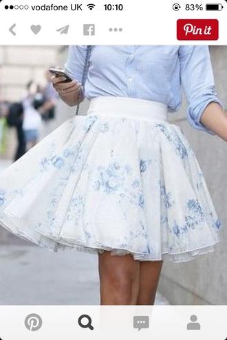 skirt tulle skirt floral skirt floral skater skirt white tulle