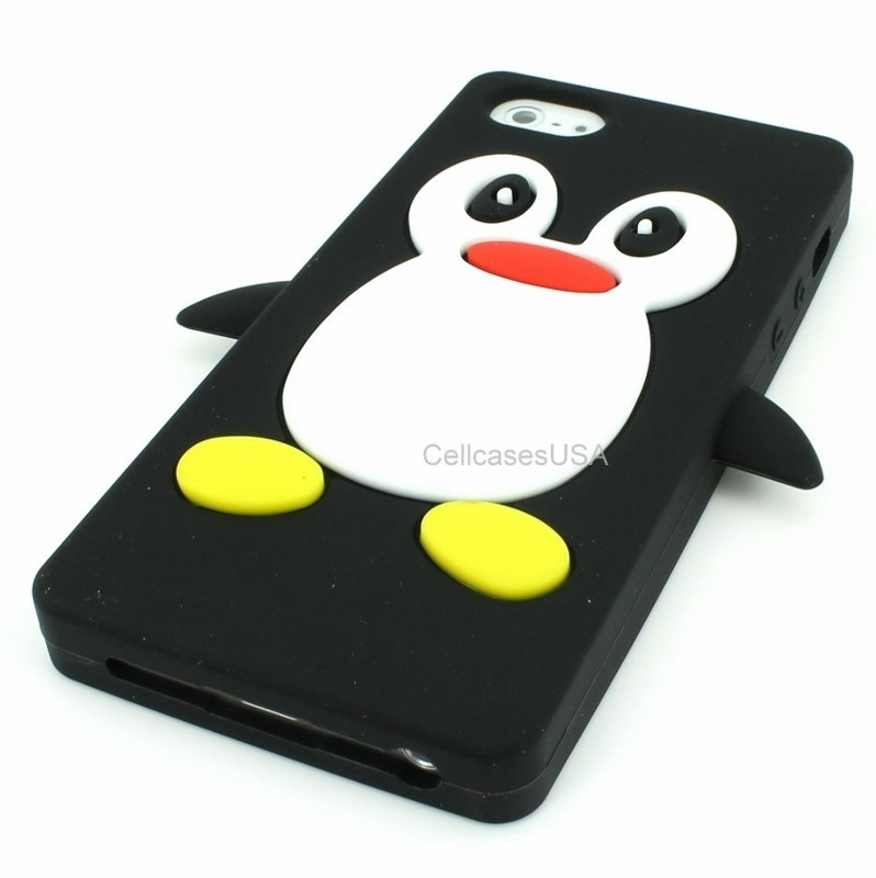 Apple iPhone 5 5G 6th Gen Penguin Black White Silicone Soft Cover Case