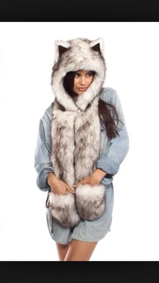hat style hair accessories fur coat husky head print cozy