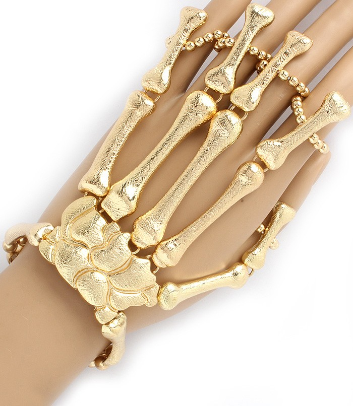 Moving Joints Metal Skeleton Hand Bracelet 5 Finger Ring | eBay
