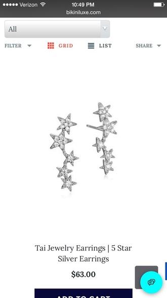 jewels tai jewelry tai earrings silver stars star earrings sparkle ear crawlers ear climber stars earrings star jewelry