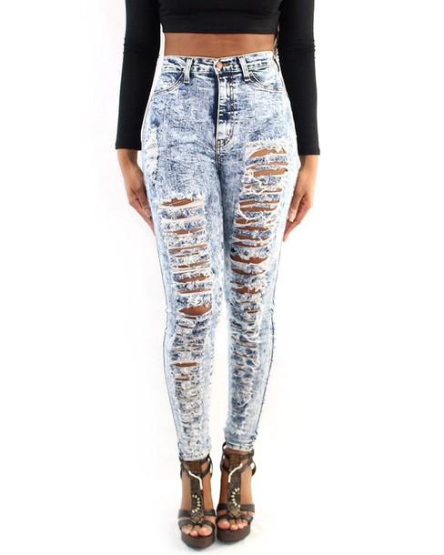 jeans shredded high waisted jeans pants