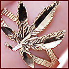 New 10k yellow gold womens marijuana leaf ring real gold