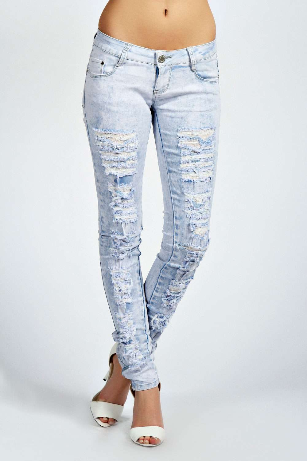 Bleached Acid Wash Ripped Skinny Jeans