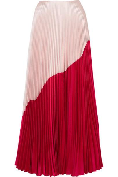 Reem Acra skirt maxi skirt maxi pleated silk wool red