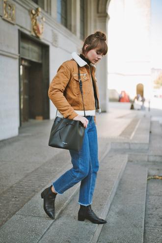 jacket tumblr brown jacket denim jeans blue jeans boots black boots ankle boots flat boots bag black bag
