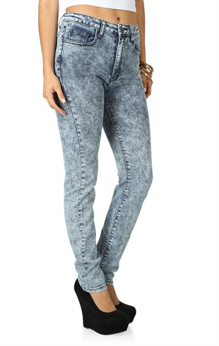 Machine Skinny Jean with High Waist and Acid Wash