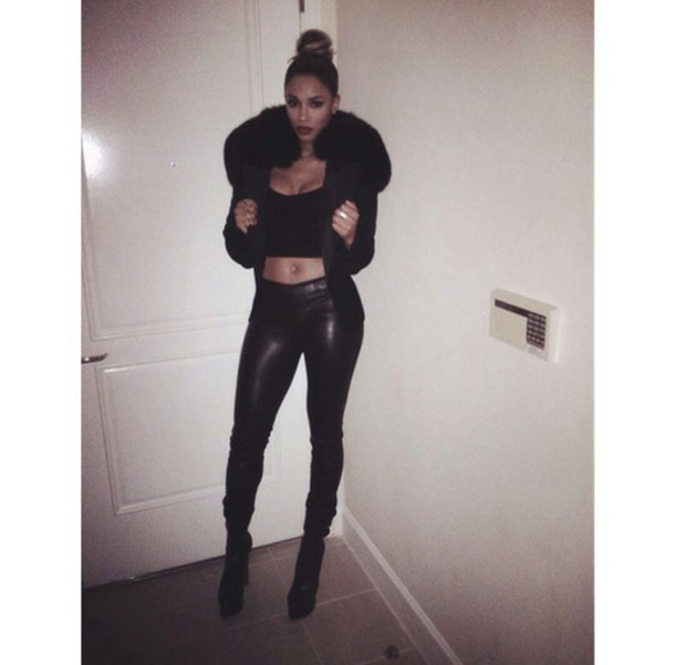 Jacket puffy coat fur coat large coat all black everything clubwear club outifit new year ...