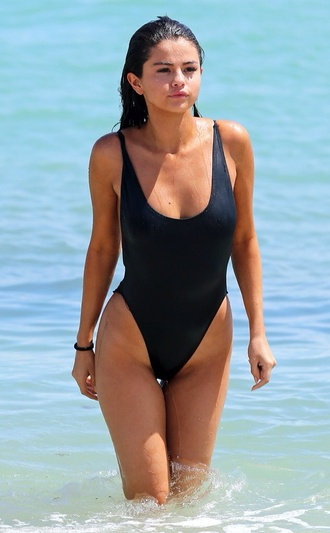 swimwear selena gomez one piece swimsuit black swimwear summer beach