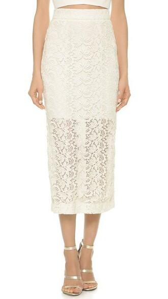 skirt pencil skirt white silk
