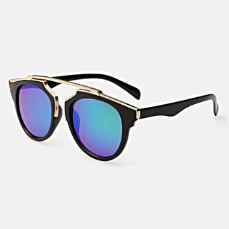 sunglasses bikini luxe mirrored sunglasses blue lense gold metal rim accent black frame black eyewear gold metal rim