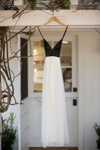dress prom wedding black white satin tumblr pinterest