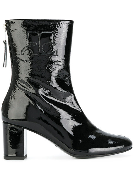 zip women ankle boots leather black shoes