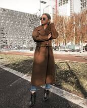 coat,long coat,wool blend coat,brown,jeans,ankle boots