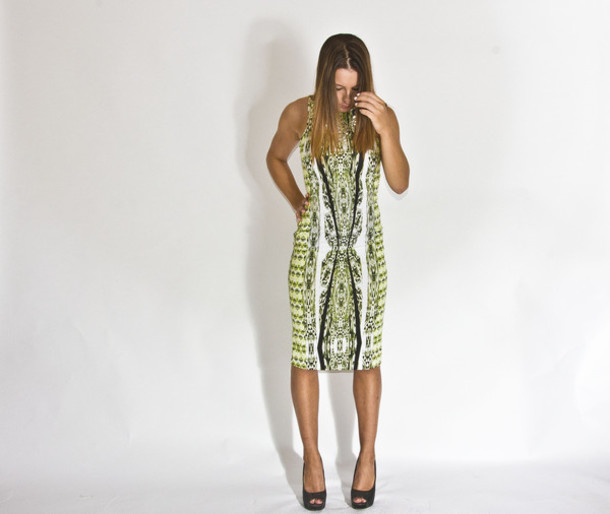 dress green dress leopard print digital print