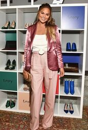 jacket,chrissy teigen,blazer,wide-leg pants,blouse,summer,summer outfits,bag,earrings,high waisted,high waisted pants,pants,shoes,heels,high heels