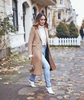 coat tumblr camel camel long coat camel coat sweater white sweater knit knitwear knitted sweater boots white boots denim jeans blue jeans mini bag