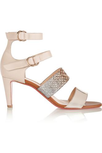 python sandals leather snake print beige snake print shoes