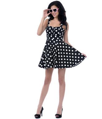 cute dress black dress vintage dress 50s dress retro retro dress 50s style polka dots polka dots dress
