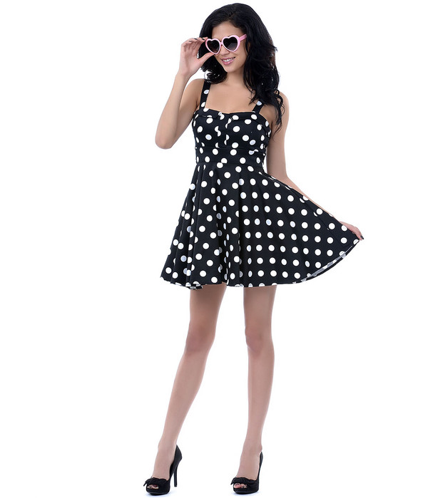 cute dress black dress vintage dress 50s dress retro retro dress 50s style 50s style polka dots polka dots dress