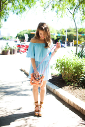 a lonestar state of southern,blogger,dress,shoes,bag,jewels,off the shoulder,blue dress,light blue,mini dress,mini bag,summer dress,lace up heels,wedges