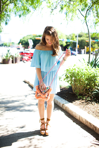 a lonestar state of southern blogger dress shoes bag jewels off the shoulder blue dress light blue mini dress mini bag summer dress lace up heels wedges