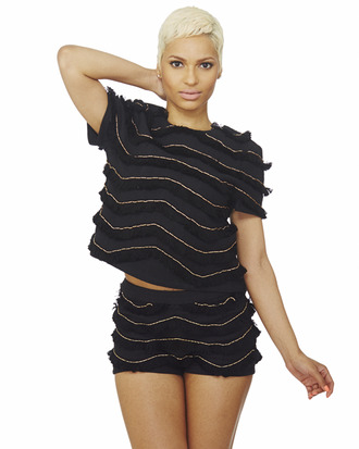 two-piece fringes black set top fringe shorts fringed top dress