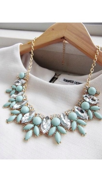 jewels blue necklace gold diamonds white bleu statement necklace gemstone aquamarine mint necklace mint green necklace mint dress top