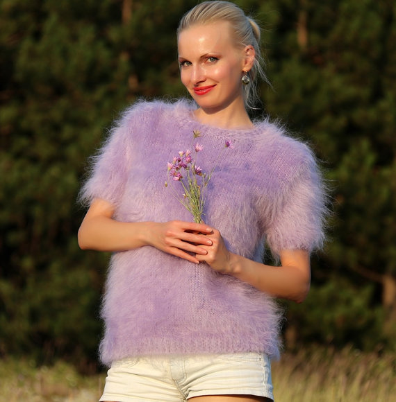 Hand knitted mohair sweater in purple by SuperTanya by supertanya