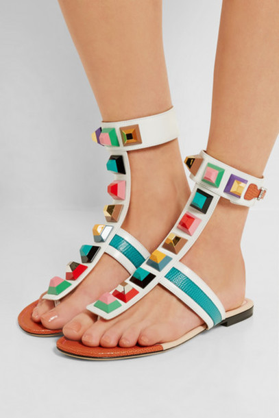 shoes bejewelled shoes sandals multicolor flat sandals girl girly girly wishlist flats
