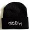 Meow cat beanie - black and white - black beanie hat