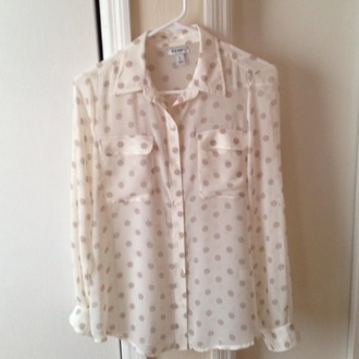 blouse shirt polka dots dots taupe beige light brown old navy sheers