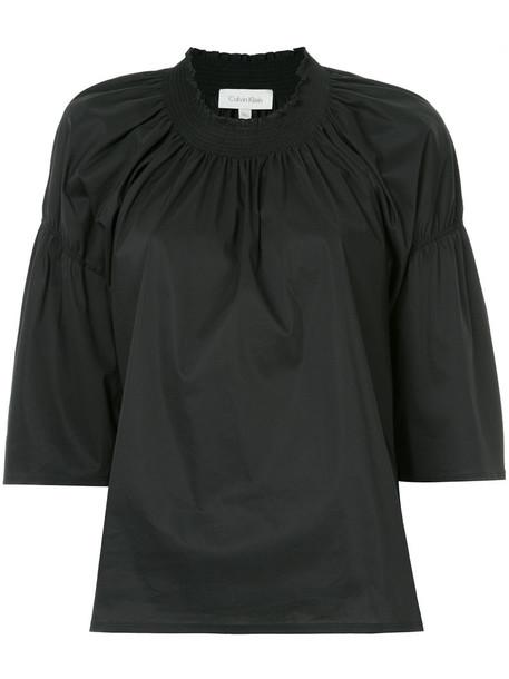 Ck Calvin Klein blouse women spandex cotton black top