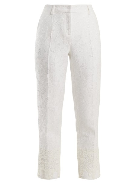 high floral white pants