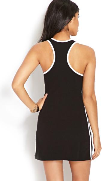 Forever 21 black striped paris dress