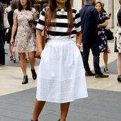 skirt,eyelet skirt,eyelet detail,midi skirt,white skirt,top,striped top,short sleeve,pearl necklace,necklace,spring outfits