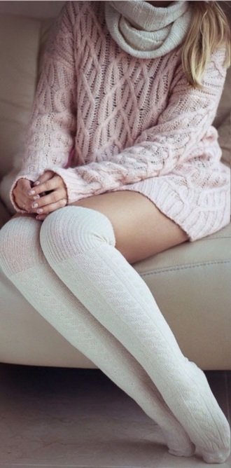pink hot knitted cardigan sweater knitwear style winter sweater socks crochet lace up t-shirt top scarf nude winter outfits classy hug knee high socks knitted scarf knitted sweater high socks pink light