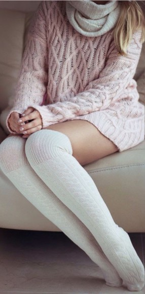 socks crochet lace up t-shirt top scarf nude winter outfits hot style classy hug knitted cardigan knee high socks knitwear knitted scarf knitted sweater high socks pink light winter sweater sweater pink