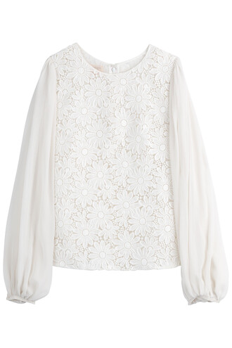 blouse lace floral white top