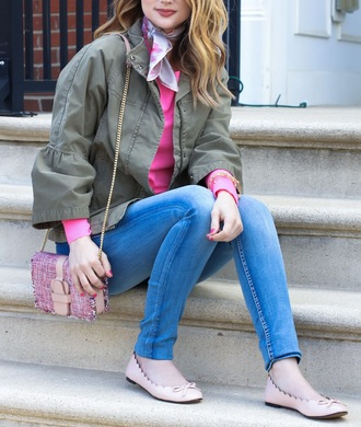 jacket tumblr army green jacket top pink top scarf silk scarf denim jeans blue jeans ballet flats flats bag pink bag spring outfits