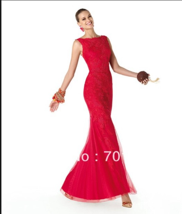 dress red dress lace long dress mermaid prom dress