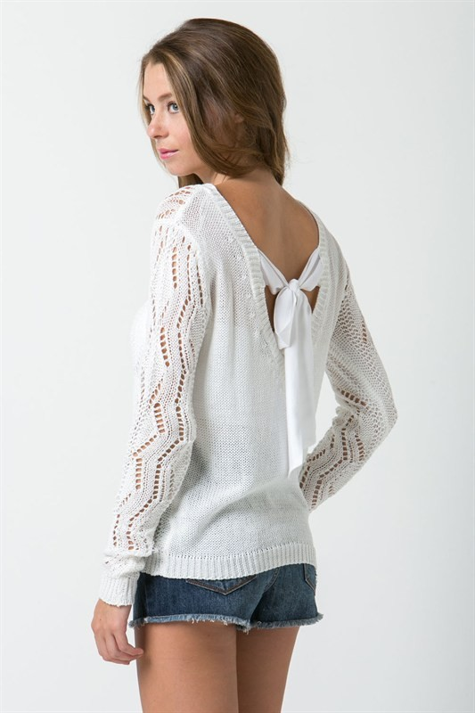 White Crochet Sleeve Bow Back Sweater