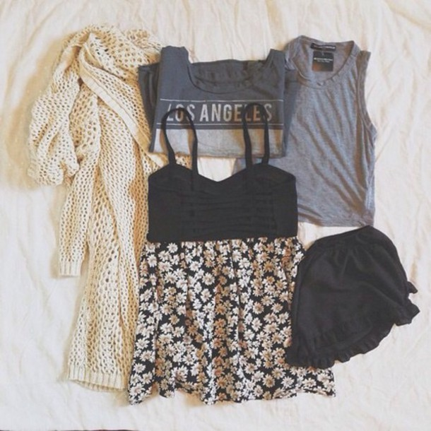 cardigan t-shirt tank top underwear skirt