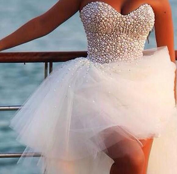 dress pearls beautiful pearl top beaded dress beads pearl short prom dress short party dresses short dress white beaded short dresses pearl, dress, prom, ball, white, beaded top beaded top dress gown