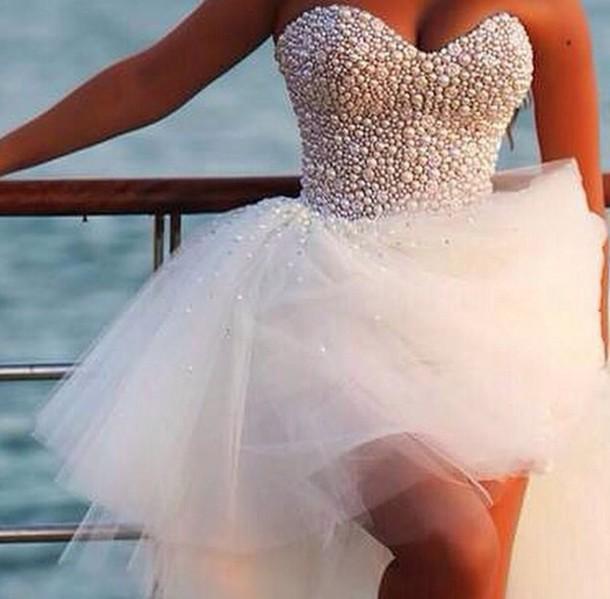 pearl top, beaded dress, beaded, pearl, pearl, short prom dress ...