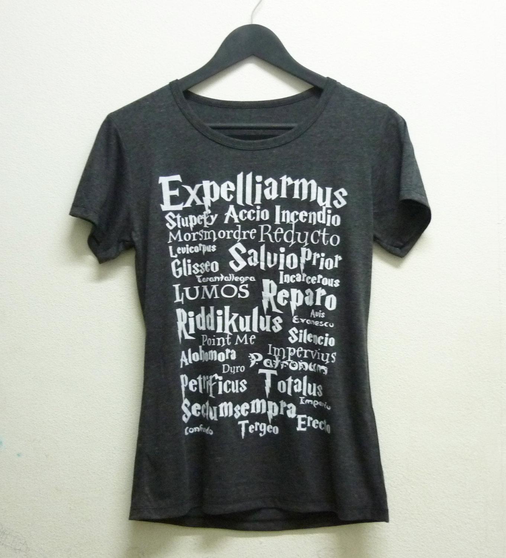 Sale short sleeve magic spell tshirt ladies size s m l xl dark grey expelliarmus magic spell harry potter shirt women t shirts