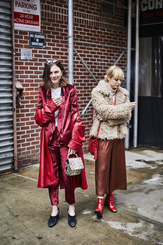 coat tumblr red coat pants red pants satin blazer red blazer power suit two piece pantsuits matching set culottes fuzzy jacket beige jacket jacket bag red bag printed bag nyfw 2017 fashion week 2017 fashion week streetstyle shoes glove heels boots red boots ankle boots monochrome outfit