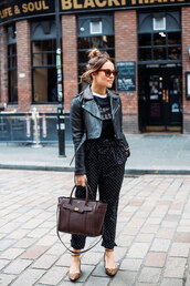 thelittlemagpie,blogger,t-shirt,pants,shoes,jacket,sunglasses,tumblr,polka dots,black pants,black t-shirt,black jacket,black leather jacket,leather jacket,bag,flats,cropped jacket